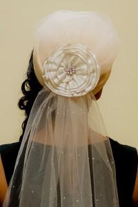 hat veil back close up