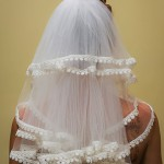 lace trim mid-back length veil front