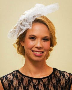 tri-floral netted veil front